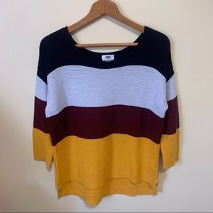 Old Navy Color Block 3/4 Sleeve Sweater